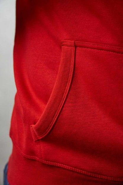gruba czerwona bluza rozpinana z kapturem