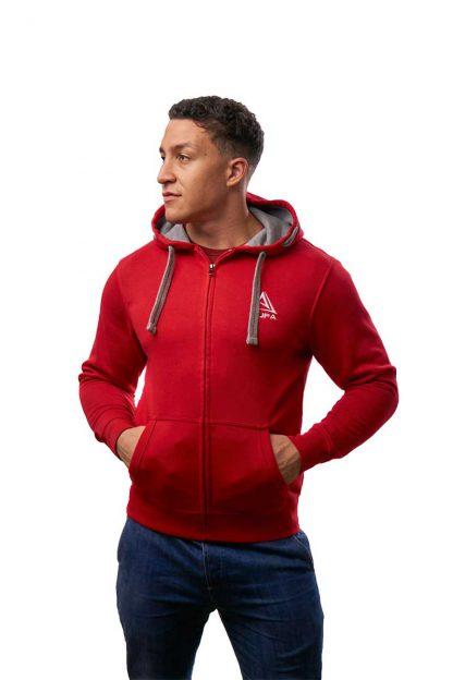 gruba czerwona bluza rozpinana z kapturem ajpa