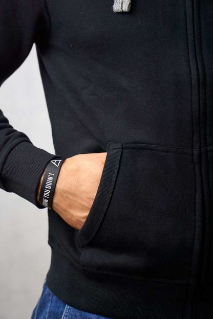 gruba rozpinana bluza czarna z kapturem ajpa